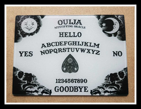 White ouija board glass cutting board-small - SocialPariah