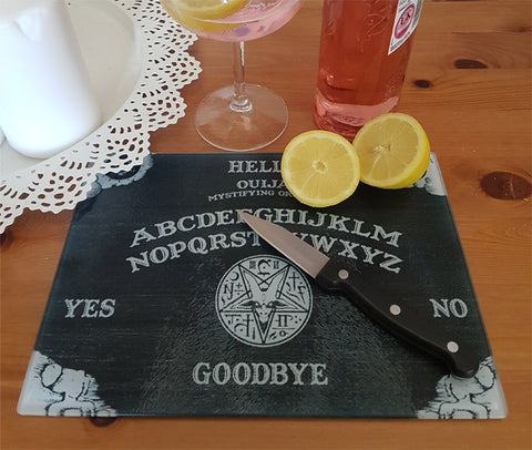 Black ouija board glass cutting board-small - SocialPariah