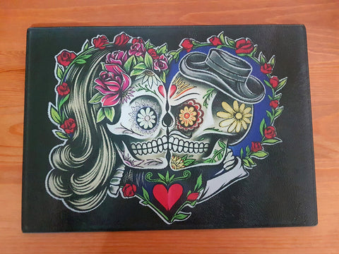 Sugar skull glass cutting board-small - SocialPariah