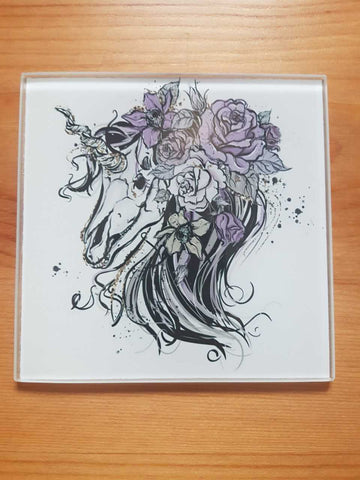 Unicorn skull glass coasters - SocialPariah