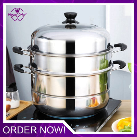 2 Layer Stainless Steel Steamer Pot