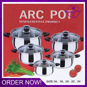 10Pcs Arc Pot Stainless Steel Cookware Set
