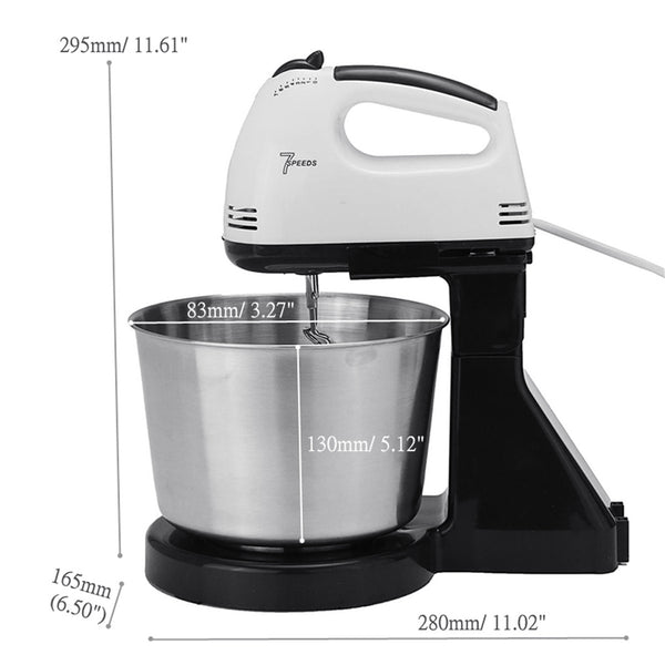 Portable 7-Speed Electric Stand Mixer with Bowl