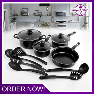 13 Pcs Non-Stick Cookware Set With Kitchen Tool Set