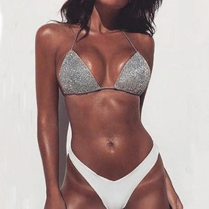 Sexy Solid Color Flash Fabric Bikini