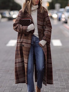 Casual Check Turndown Collar Cotton dress&Overcoat &Down Jacket