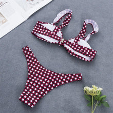 Load image into Gallery viewer, Spaghetti Strap  Backless Bowknot  Houndstooth Bikini