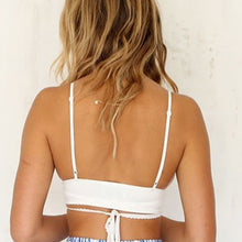 Load image into Gallery viewer, Spaghetti Strap  Backless Lace-Up  Striped Bikini