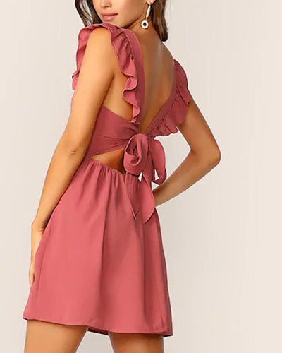 Ruffled Backless Sweet Sexy Dress