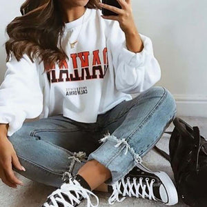 Casual Round Neck Letter Print Loose Sweatershirt