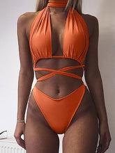 Load image into Gallery viewer, Halter  Bowknot Cutout  Plain Bikini