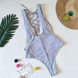 Lace-Up  Plain Bikini