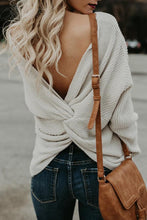 Load image into Gallery viewer, V Neck  Backless Loose Fitting  Plain Sweaters