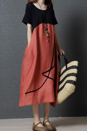 Scoop Neck  Loose Fitting  Color Block Maxi Dresses