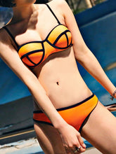 Load image into Gallery viewer, Spaghetti Strap  Contrast Trim  Contrast Stitching  Plain Bikini