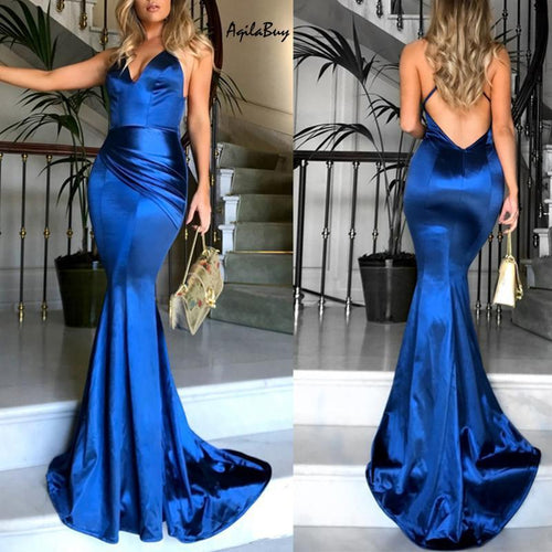 Sexy Deep V Condole With Pure Color Evening Dress