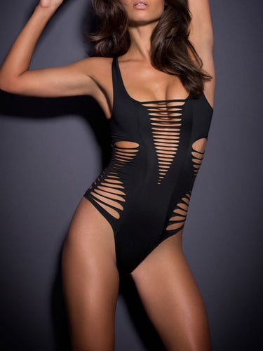 Spaghetti Strap  Cutout  Plain One Piece