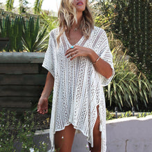 Load image into Gallery viewer, V-Neck Asymmetrical Side Slit Bikini Smock