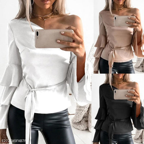 Asymmetrical Collar One Shoulder Long Sleeve Belt Elegant Plain Blouses