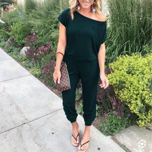 Open Shoulder  Plain  Short Sleeve Jumpsuits
