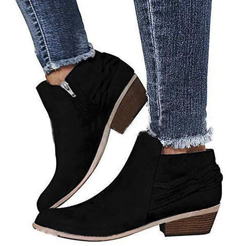 Fringed Thick Heel Ankle Boots