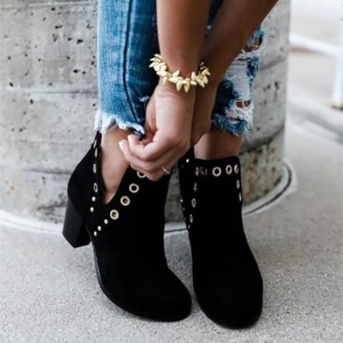 Fashion Eylets Thick  Ankle Boots