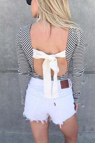 Round Neck  Backless Bow  Striped T-Shirts