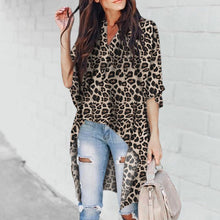 Load image into Gallery viewer, Chic V-Collar   Irregular Leopard Print Blouses