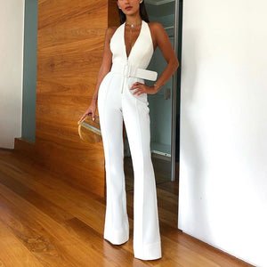 Sexy Deep V Sleeveless Halter Jumpsuit