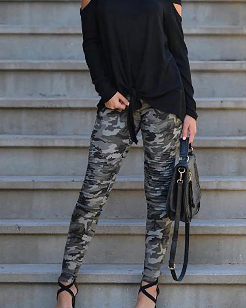 Cutout  Contrast Stitching  Camouflage Leggings