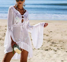 Load image into Gallery viewer, Casual Sexy Hollow Out   Sandbeach Knitted Sweater Sunscreen Mini Dresses