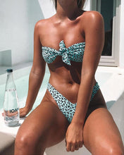 Load image into Gallery viewer, Strapless  Bowknot  Two Way  Leopard Bikini