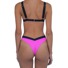 Load image into Gallery viewer, Spaghetti Strap  Contrast Stitching  Color Block Bikini