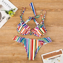 Load image into Gallery viewer, Spaghetti Strap  Ruffle Trim  Contrast Stitching Bikini