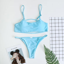 Load image into Gallery viewer, Spaghetti Strap  Cutout  Contrast Stitching Bikini