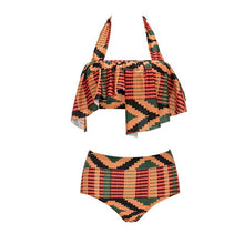 Load image into Gallery viewer, Tie Collar  Asymmetric Hem  Contrast Stitching  Abstract Print Bikini