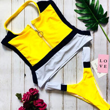 Load image into Gallery viewer, Band Collar  Zips  Contrast Stitching  Color Block Bikini