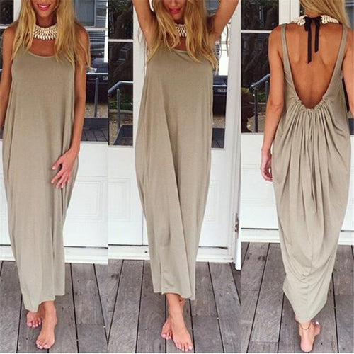 Fashionable Solid Color Vest Loose Vacation Dress