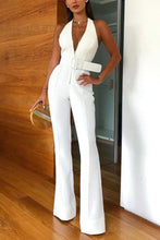Load image into Gallery viewer, Sexy Deep V Sleeveless Halter Jumpsuit