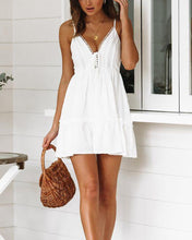 Load image into Gallery viewer, V-Neck White Strap Lace Dress