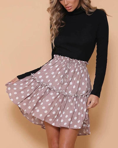 Classy Polka Dot Ruched Skirts