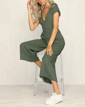 Load image into Gallery viewer, Casual V Neck  Single-Breasted Splicing Pure Colour Jumpsuit