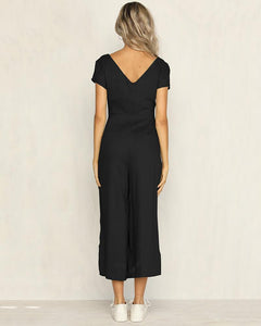 Casual V Neck  Single-Breasted Splicing Pure Colour Jumpsuit
