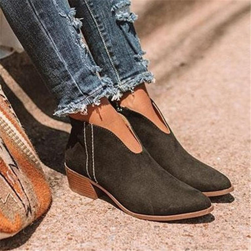 Women's Solid Color Side Zipper Boots