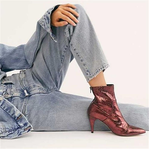Women's Solid Color Back Zipper Pointed High Heel Boots