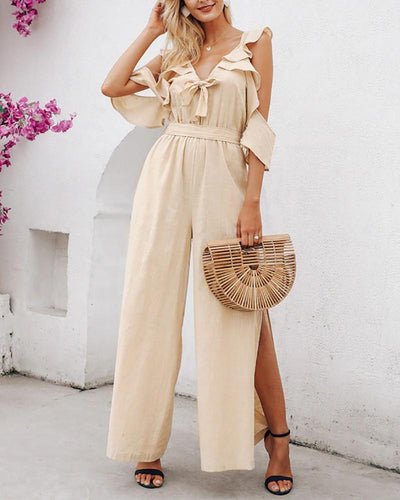 Simple Ruffle Trim Tie Front Slit Hem Belted Jumpsuit