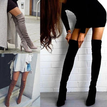 Load image into Gallery viewer, Pointed Elastic Side Zip Over Knee Thick Heel Boots