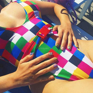 Sexy Bikini Color Check Buckle One Piece Swimsuit