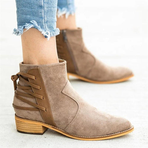 Women's Fashion Side Zipper Pointed Booties