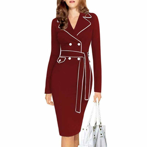 Fold Over Collar  Decorative Buttons Bodycon Dress